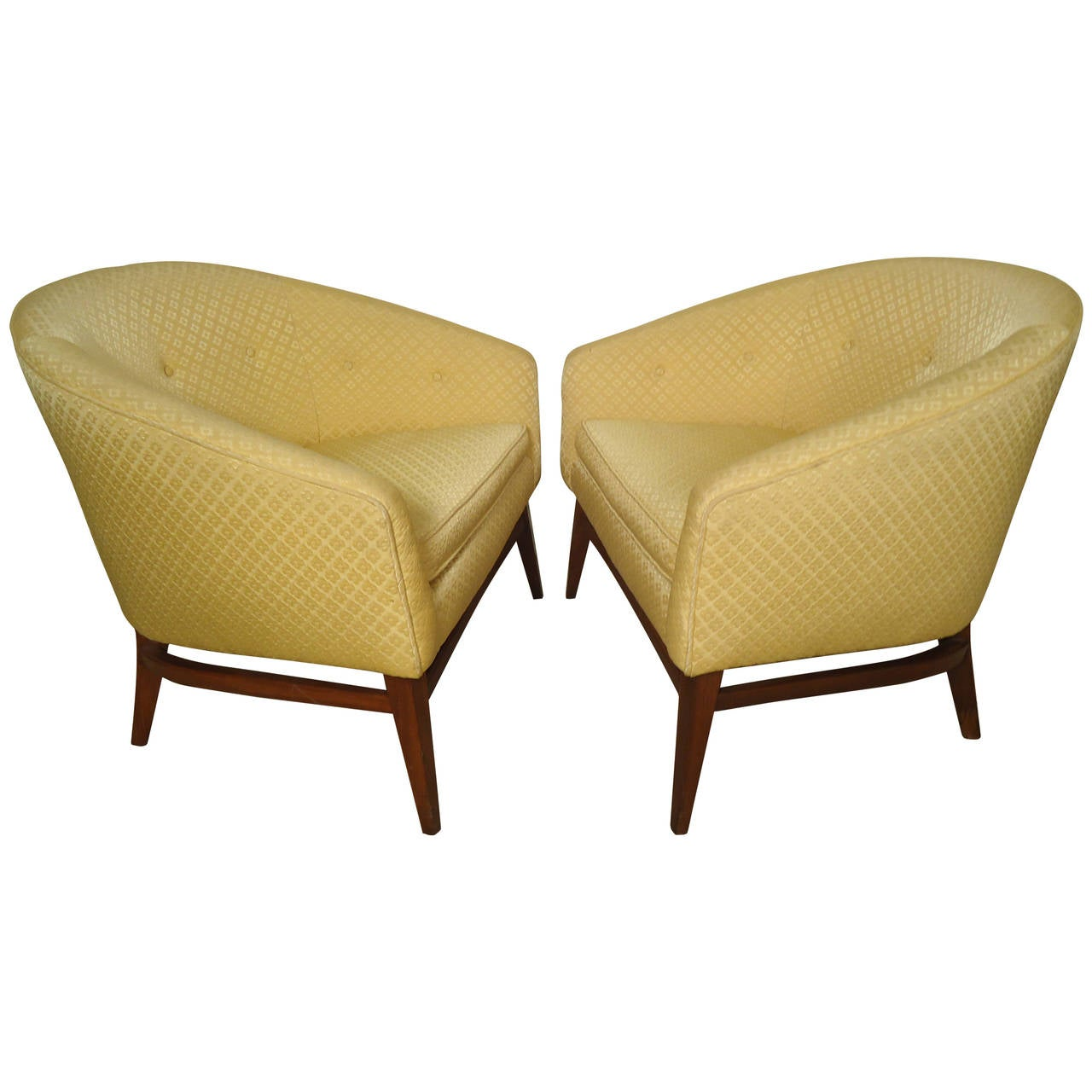 barrel back chair retro chrome chairs pair of midcentury upholstered for sale