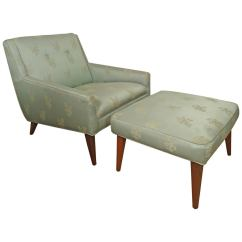 Chair And Matching Stool Oversize Swivel Midcentury Lounge With Ottoman For Sale At
