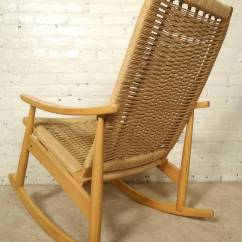 Woven Rocking Chair Elegant Bedroom Hans Wegner Style Rope At 1stdibs Classic Mid Century Modern Rocker Designed With Seat And Back Long Runners