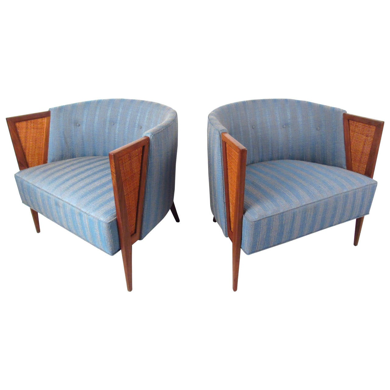 mid century modern cane barrel chairs stair chair lift installation pair of unique back lounge for