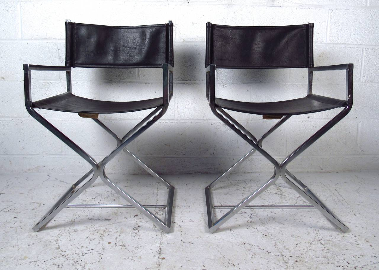 leather directors chair gray accent chairs with arms mid century set of chrome and director style