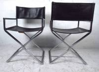 Mid Century Set of Chrome and Leather Director Style ...