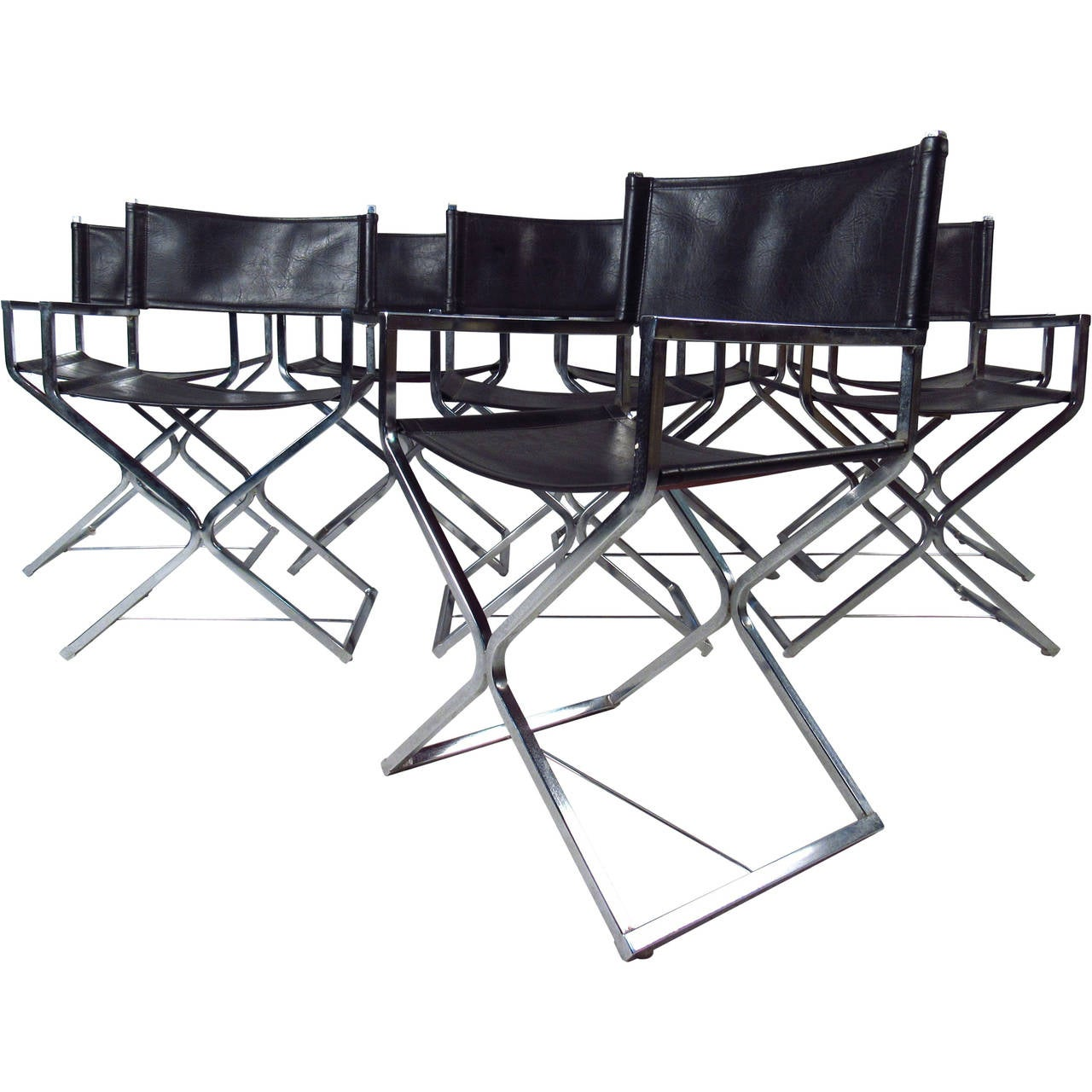 leather directors chair le corbusier lounge mid century set of chrome and director style