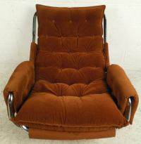 Mid-Century Chrome Frame Tufted Lounge Chair For Sale at ...