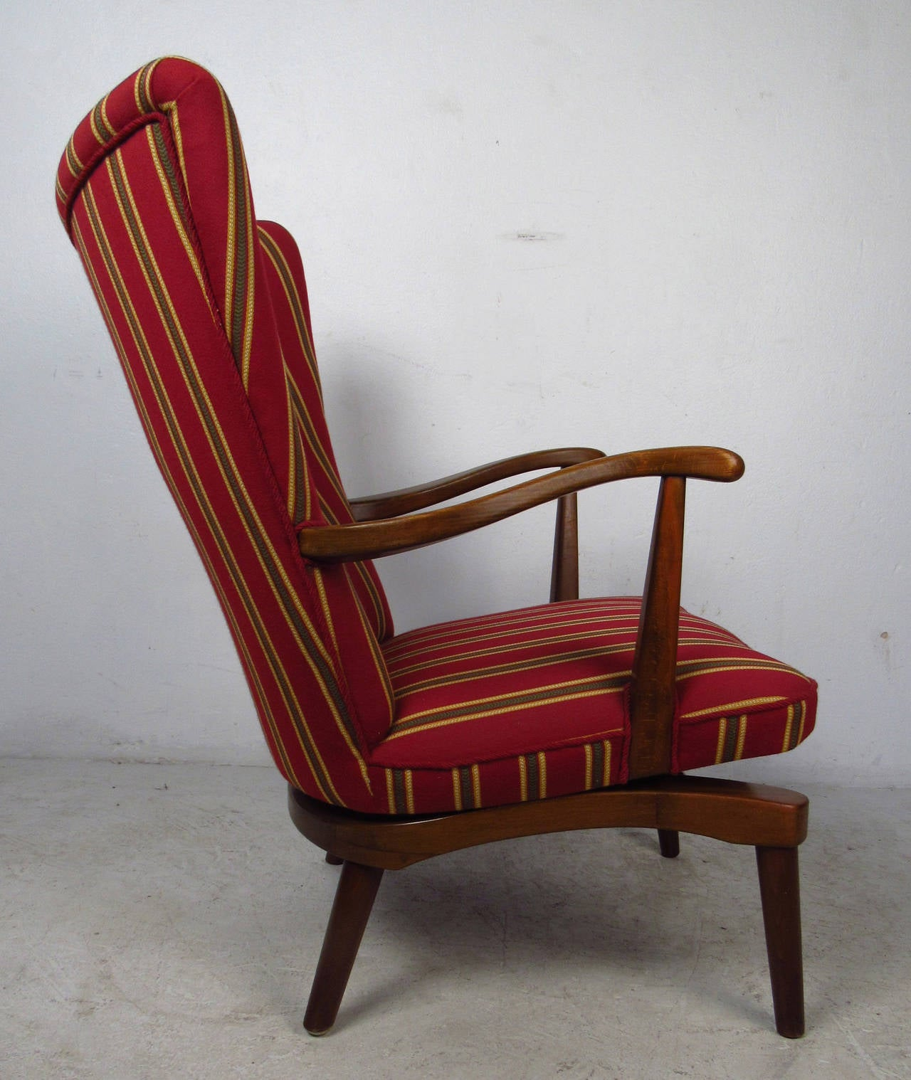 Spring Rocking Chair Unique Midcentury Sculpted Walnut Spring Rocker For Sale