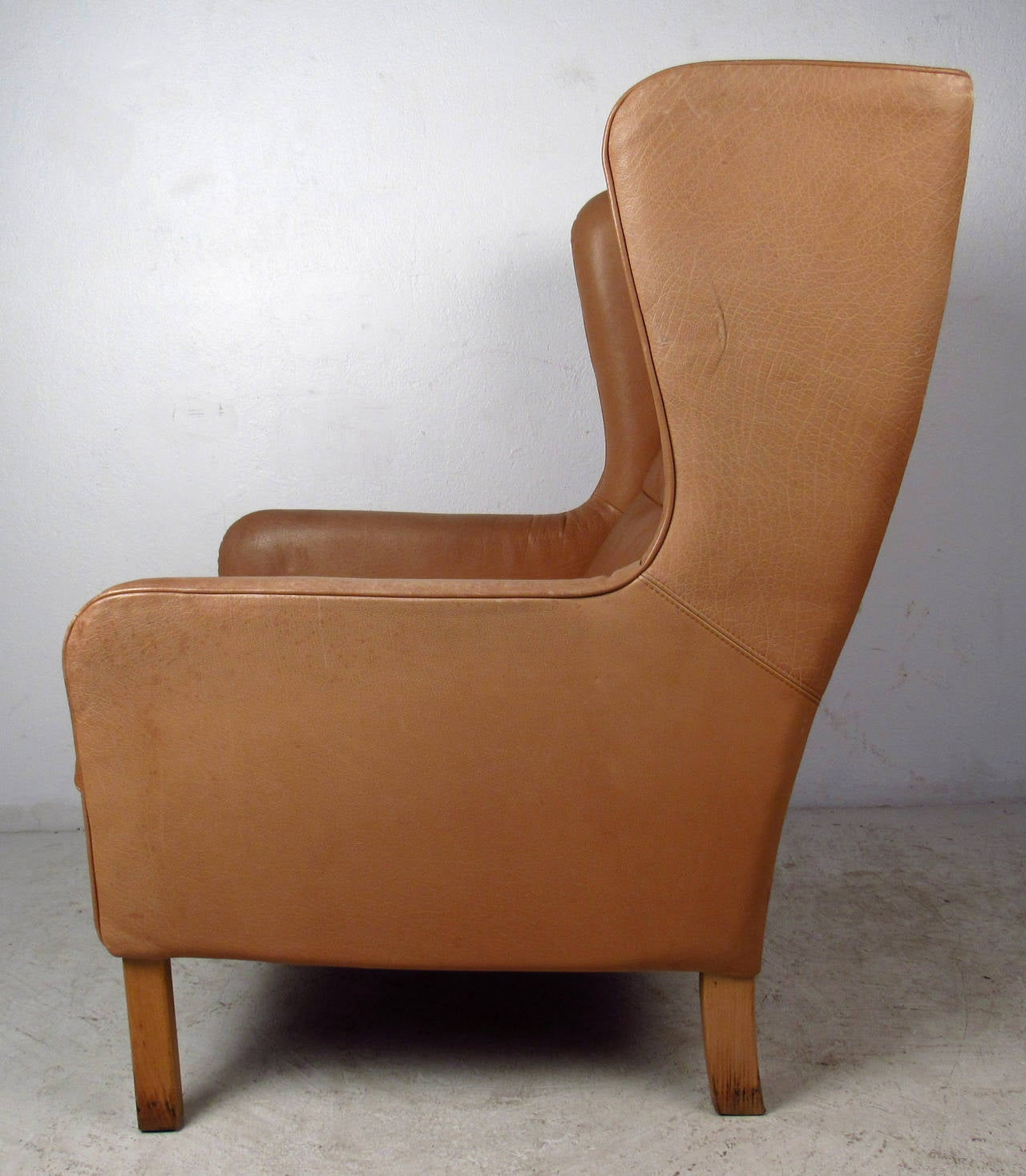 modern wingback chairs for sale red chair mid century tufted leather lounge