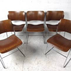 David Rowland Metal Chair Ikea Outdoor Folding Chairs Set Of Midcentury 40 4 Stackable By