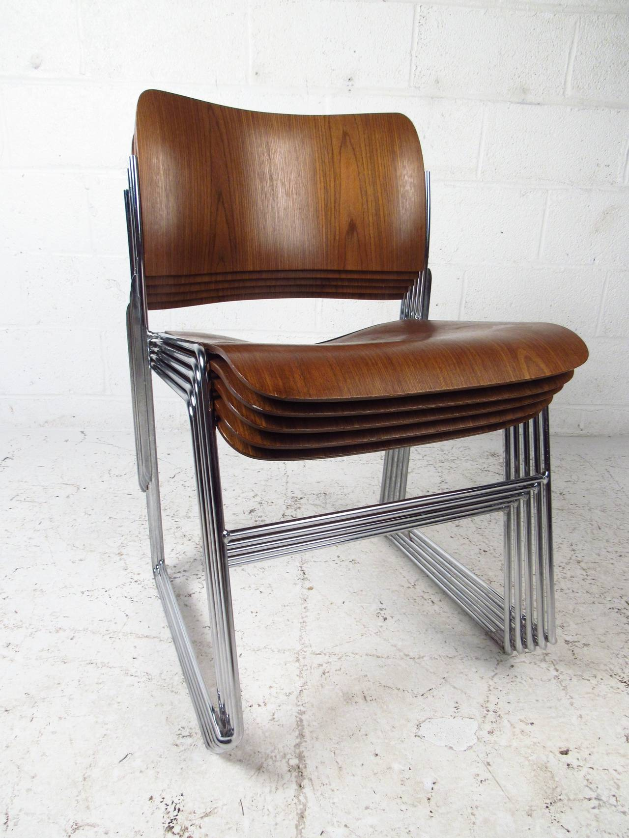 david rowland metal chair farmhouse style cushions set of midcentury 40 4 stackable chairs by