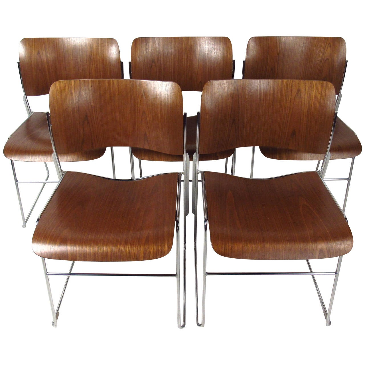 stackable rolling chairs used stacking set of midcentury 40 4 by david rowland