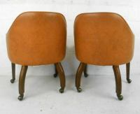 Pair Mid-Century Modern Barrel Back Rolling Armchairs at ...