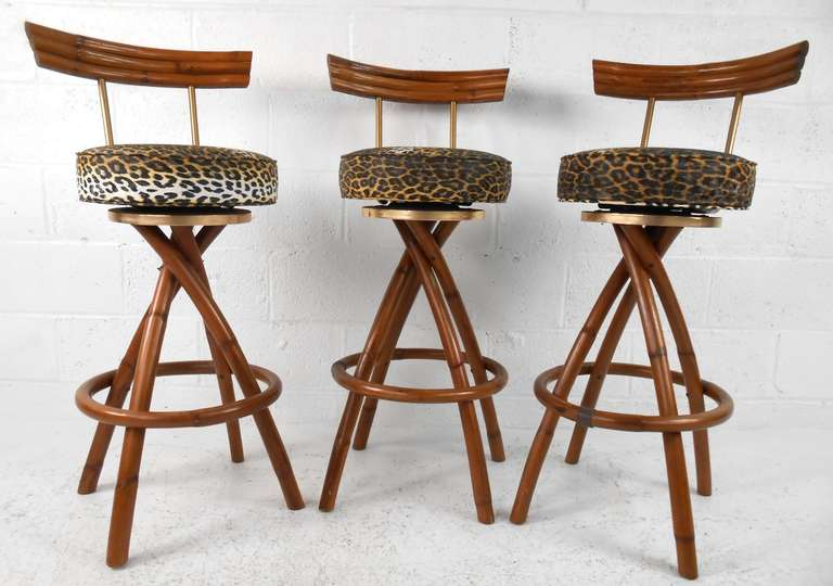 chair and stool covers hanging sydney set of mid-century rattan bar stools at 1stdibs