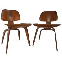 Early Pair of Mid-Century Modern DCW Side Chairs by Ray ...