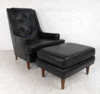 Mid-Century Modern Tufted Lounge Chair With Ottoman For ...