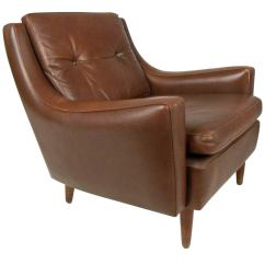 Leather Chair Modern Dining Seat Fabric Mid Century Tufted Brown Club At 1stdibs