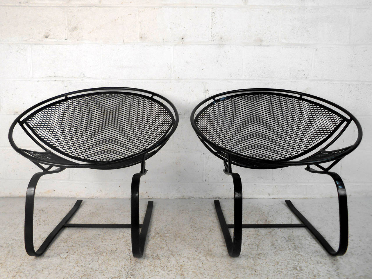 Mid Century Patio Chairs Pair Mid Century Modern Iron Cantilever Patio Chairs By