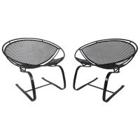 Pair Mid Century Modern Iron Cantilever Patio Chairs by ...