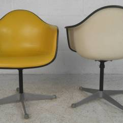 Metal Bucket Chairs Glass Table And Set Pair Charles Eames For Herman Miller