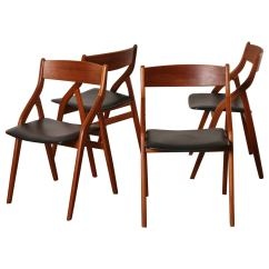 Folding Chair Set Xl Zero Gravity With Canopy And Footrest Of Four Dyrlund Danish Modern Teak Dining