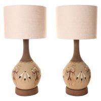 1970s Table Lamps. Sand Painted Native American Yei Lamps ...
