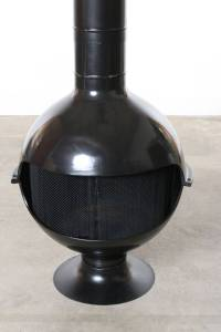 Mid-Century Bulbous Black Enamel Freestanding Fireplace at ...