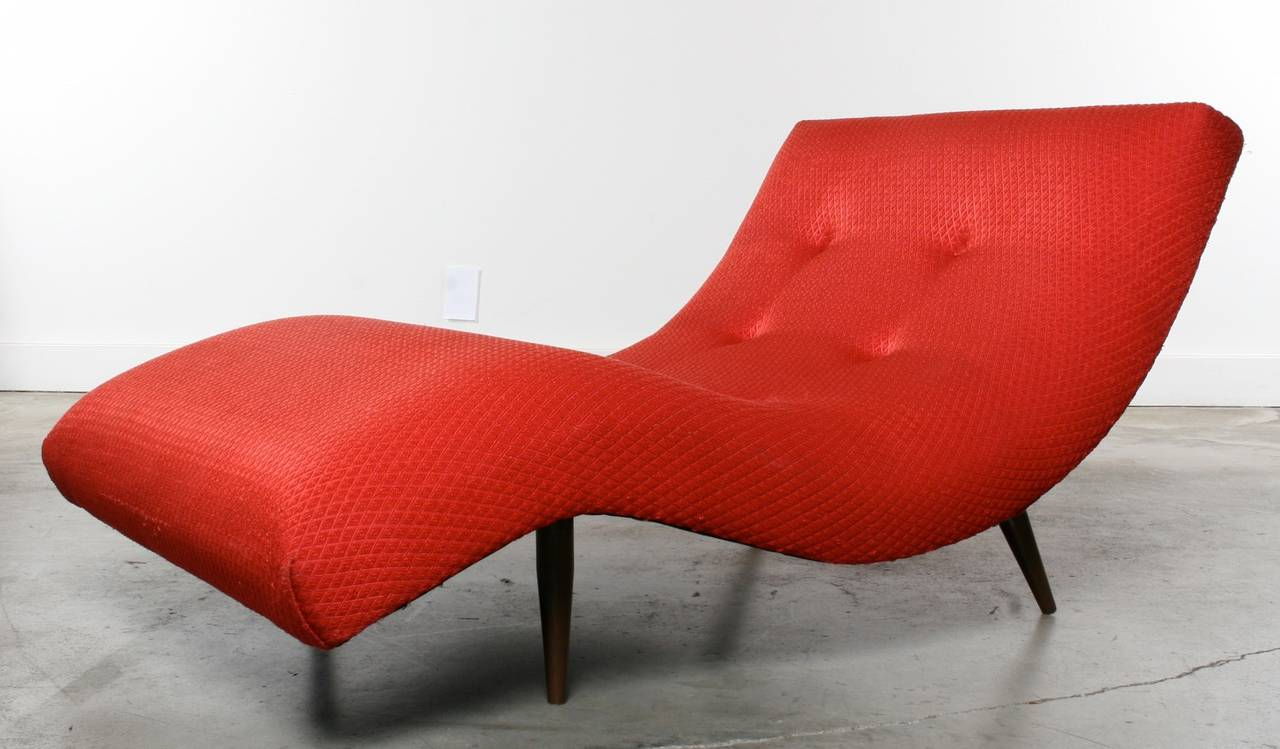leather lounge chair with ottoman folding concert lawn chairs adrian pearsall wave or chaise longue, 1960s at 1stdibs