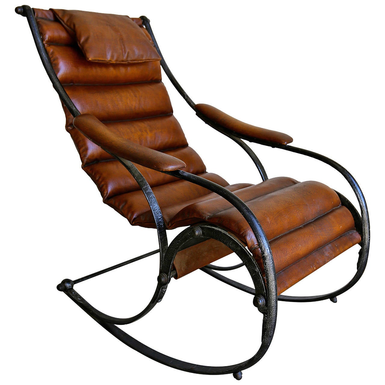 Metal And Leather Chair Sculptural Leather And Steel Rocking Chair At 1stdibs