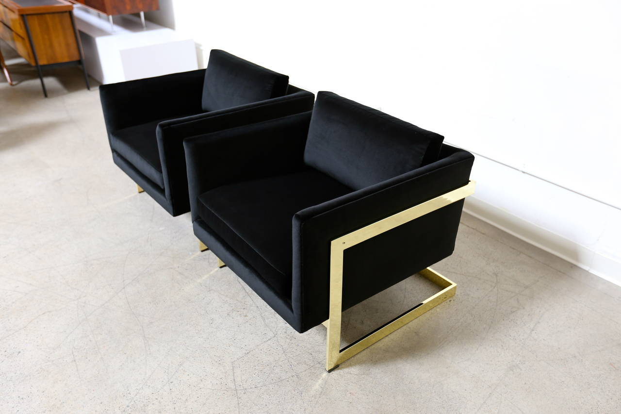 Cube Chairs Mirror Polished Brass