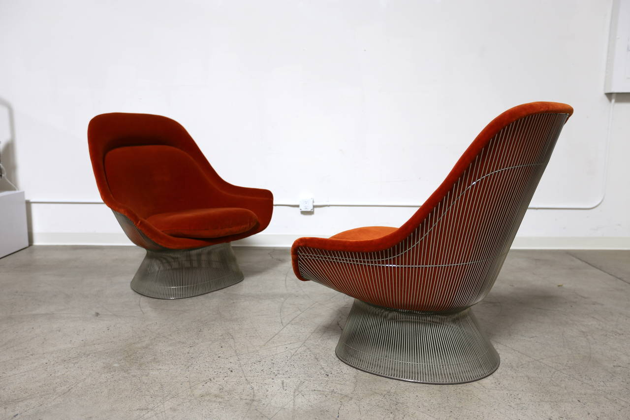 Orange Lounge Chair Pair Of Burnt Orange Lounge Chairs By Warren Platner For
