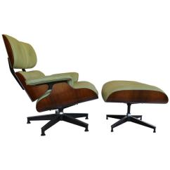 Selig Eames Chair Adirondack Pillows Pistachio Green Leather And Rosewood Lounge By Charles At 1stdibs