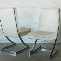 Milo Baughman Dining Chairs High Chair Tray Cover Disposable Chrome Z For Dia At 1stdibs
