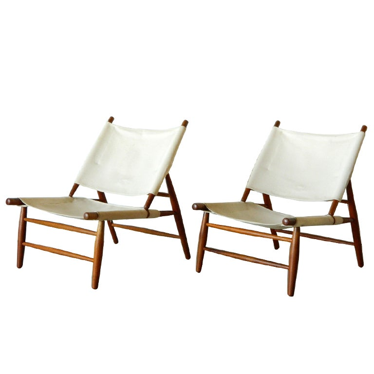 Rare Pair of Vilhelm Wohlert Canvas Triangle Chairs at 1stdibs