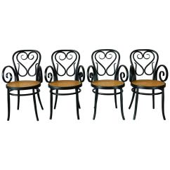 Cafe Chairs For Sale Poppy High Chair Cover Set Of Four Italian Bentwood And Cane At 1stdibs