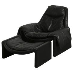 Black Leather Club Chair And Ottoman Rental Atlanta Vittorio Introini Lounge