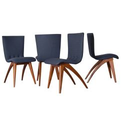 Navy Dining Room Chairs Leather Chair Ottoman Set Of Four Van Os Curved Teak In At