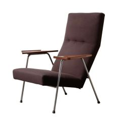 Leather Lounge Chair With Ottoman Comfy Dutch Wood Tray Arm Rests At 1stdibs