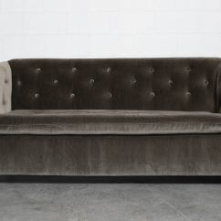 Velvet Grey Tufted Sofa Gardner White Bed Artifort Rolling At 1stdibs