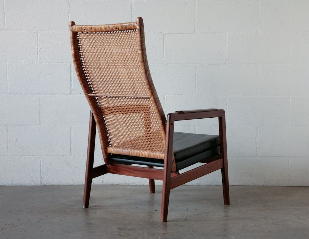 MidCentury Rattan and Teak Lounge Chair at 1stdibs