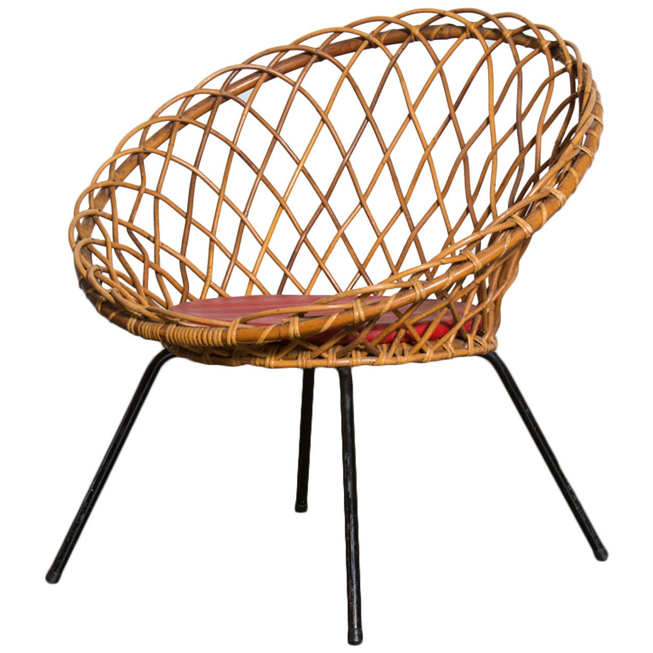 big bamboo circle chair white leather rocker jacques adnet style woven lattice hoop at 1stdibs