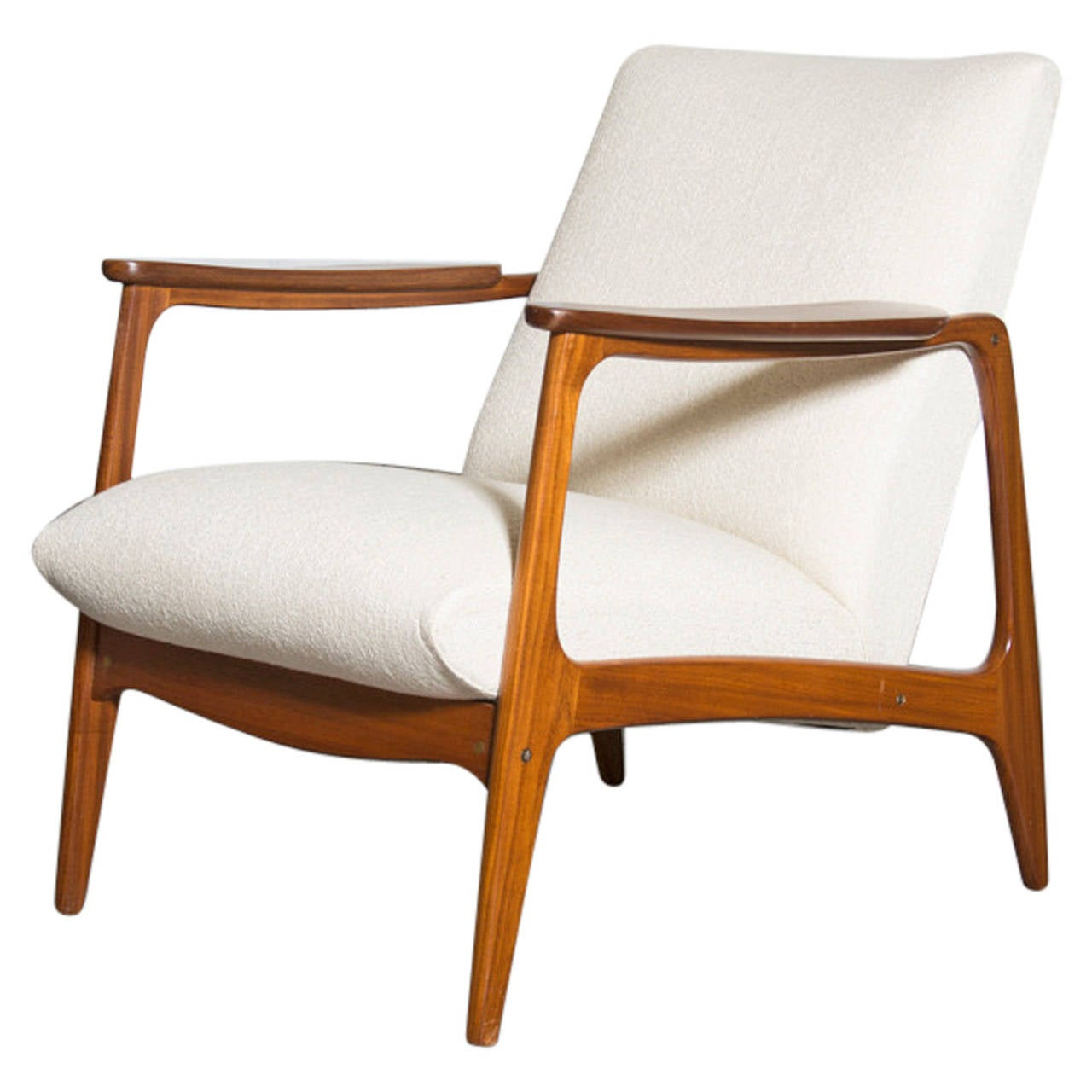 Mid Century Upholstered Chair Mid Century Teak Upholstered Lounge Chair At 1stdibs