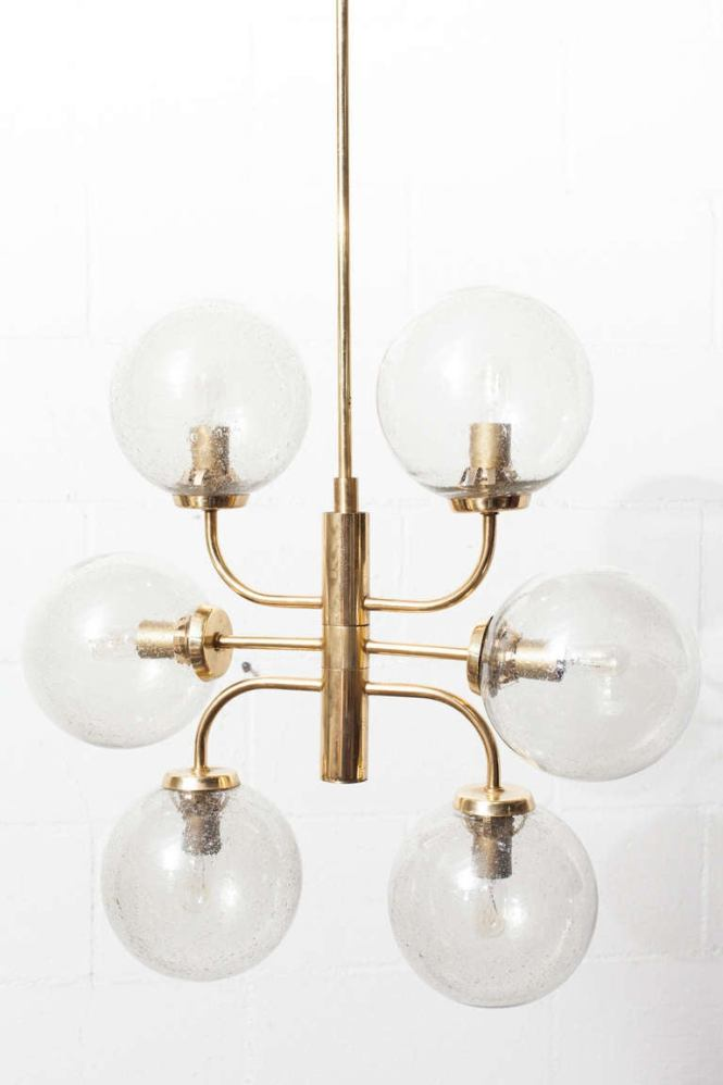 Stilnovo Style Mid Century N Glass And Brass Globe Chandelier 3
