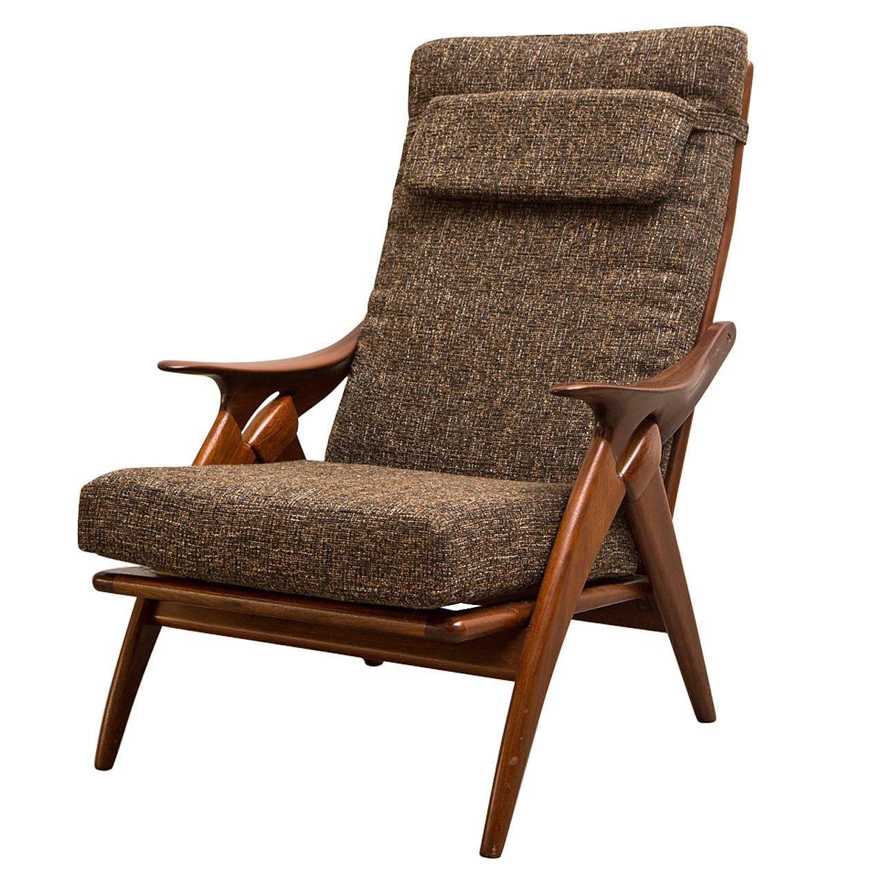 teak lounge chair folding beach with wheels de ster mid century at 1stdibs