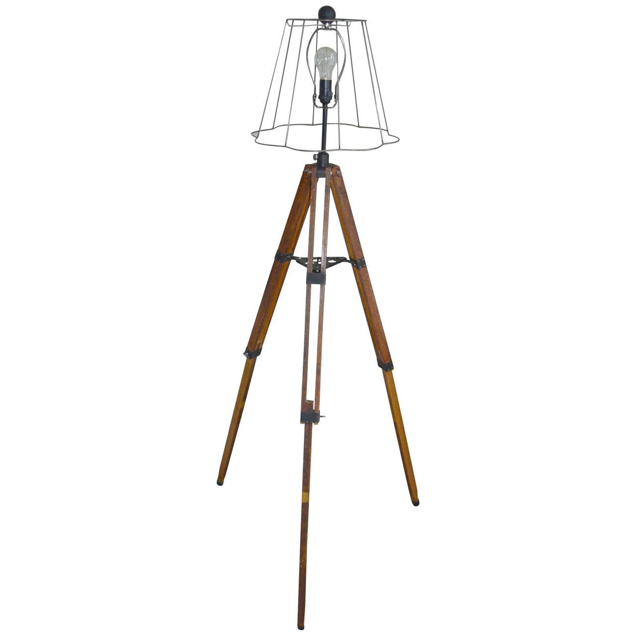 Early 20th Century Telescope Tripod As Floor Lamp At 1stdibs