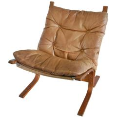 Corbusier Lounge Chair Nursery Rocking Cheap Mid-century Scandinvian-style Leather Slingback On Teak Frame At 1stdibs