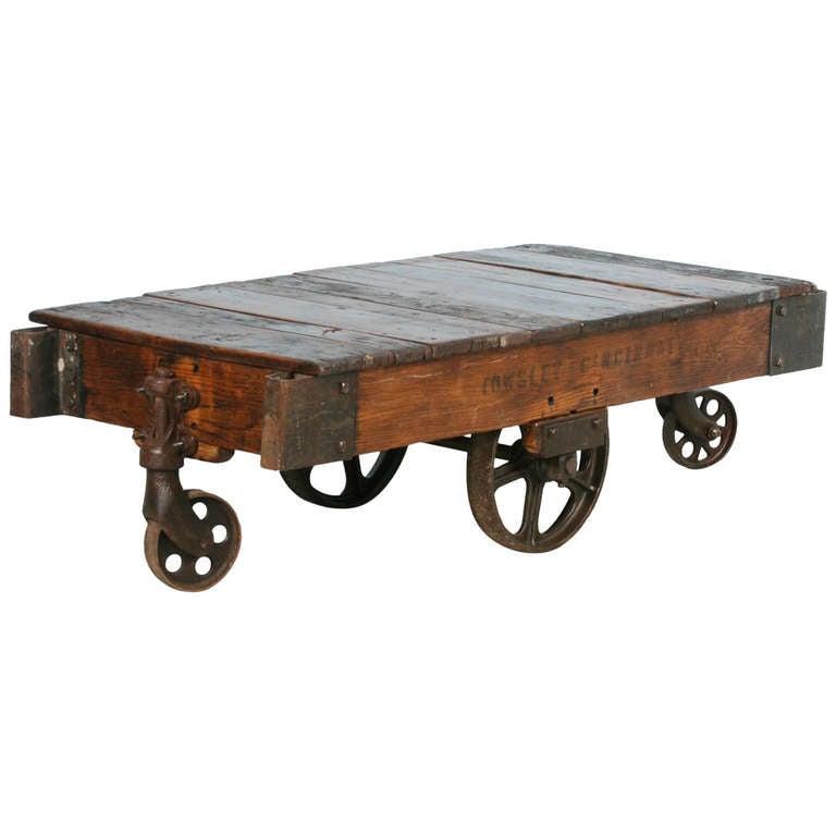 antique vintage luggage cart