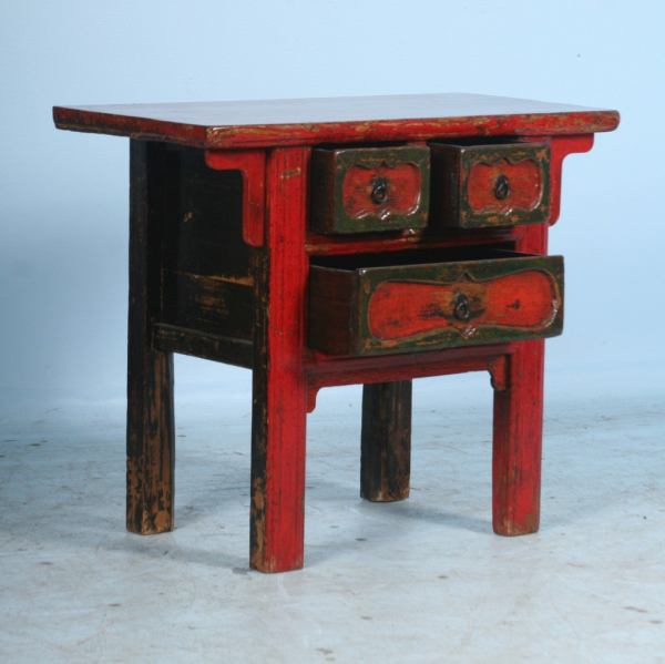 Antique Small Chinese Red Lacquered Console Table Side