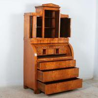 Antique Biedermeier Elmwood Secretary With Hidden