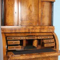 Antique Biedermeier Elmwood Secretary With Hidden ...