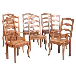 French Country Dining Chairs With Arms Baseball Glove Office Chair Elm Wood And Rush Seat Set