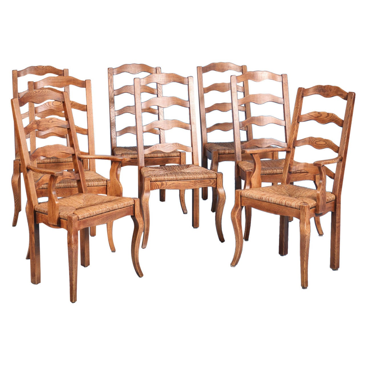 French Dining Chairs French Country Elm Wood And Rush Seat Dining Chairs Set