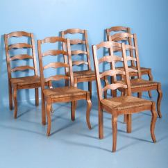 French Country Dining Chairs With Arms Small Camp Chair Elm Wood And Rush Seat Set
